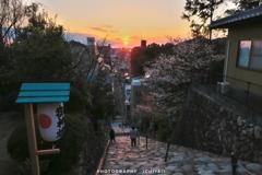 伊佐爾波神社の夕暮れ
