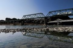 鹿島鉄橋を渡る