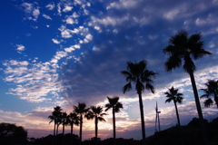 秋の空と風力発電の黄昏