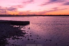 池田から観る天竜川の夕暮れ