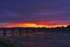 京都 嵐山の夜明け