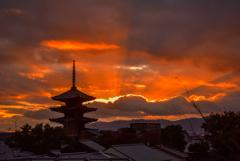 二年前の京都東山夕景2