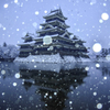 松本城、早朝の雪景色
