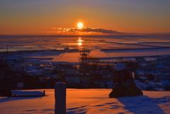 流氷の町の夜明け2