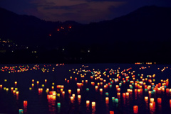 広沢池の灯篭流し