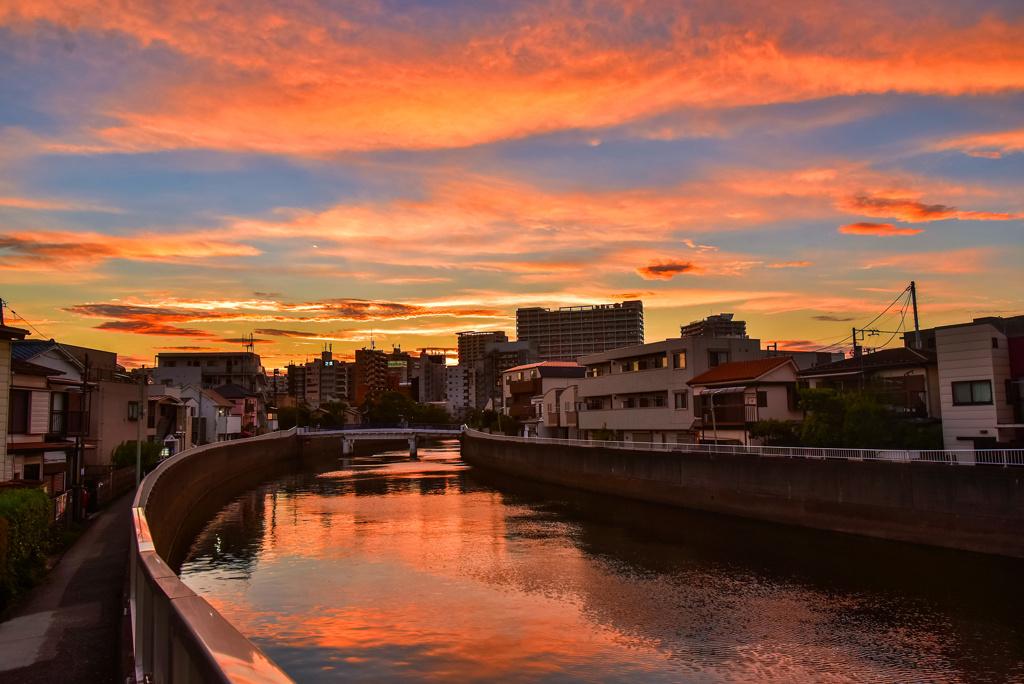 吞川の夕焼け