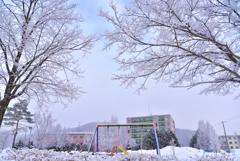 凍てついた町