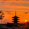 東山の夕日