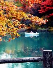 五色沼 ボートで二人きり…