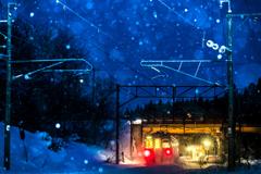 雪降る秘境駅へ