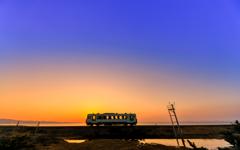 夕焼けのむつ湾を眺めながら