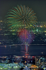 Night view and fireworks