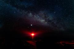 東平安名崎灯台と天の川