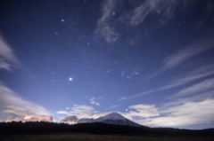 Fuji and constellations of winter