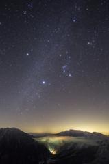 Winter starry sky