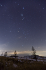 starry sky in winter