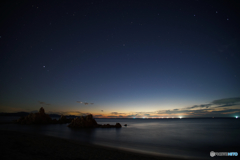 夕暮の水晶浜