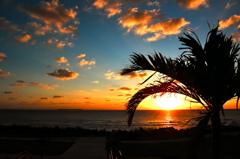 美ら海からの夕日2