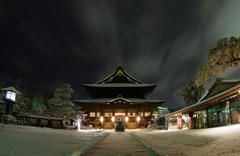 雪夜の善光寺:本堂