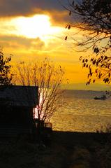 朝焼けのサロマ湖