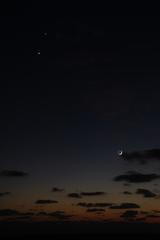 月と木星、金星
