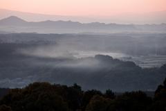朝靄の里山