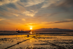 有明海 春の夕陽