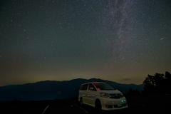 愛車と北の夜空