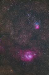 玄関ポーチで三裂星雲と干潟星雲