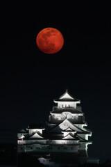 白鷺城と赤い月
