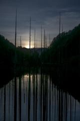 自然湖の夜明け