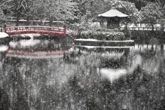 雪と赤い橋