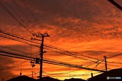 電柱と夕暮れ