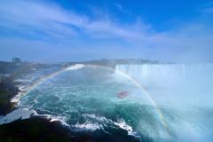 滝に架かる虹