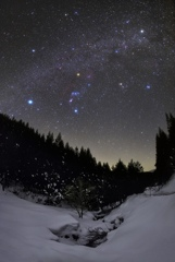 Winter starry sky of February