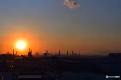 京浜工業の日没