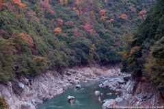 保津川を下る、紅葉と小雨の中