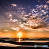 真玉海岸の夕陽(2)