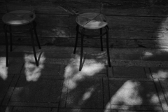 The chair between light and shadow