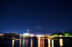 工場夜景と星景と富士山。