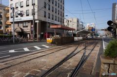 路面電車が走る町