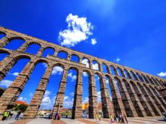Blue sky of Segovia and its Aqueduct
