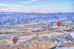 早朝のカッパドキア 気球による世界