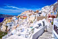 ギリシャ エーゲ海のサントリーニ島 イアの街