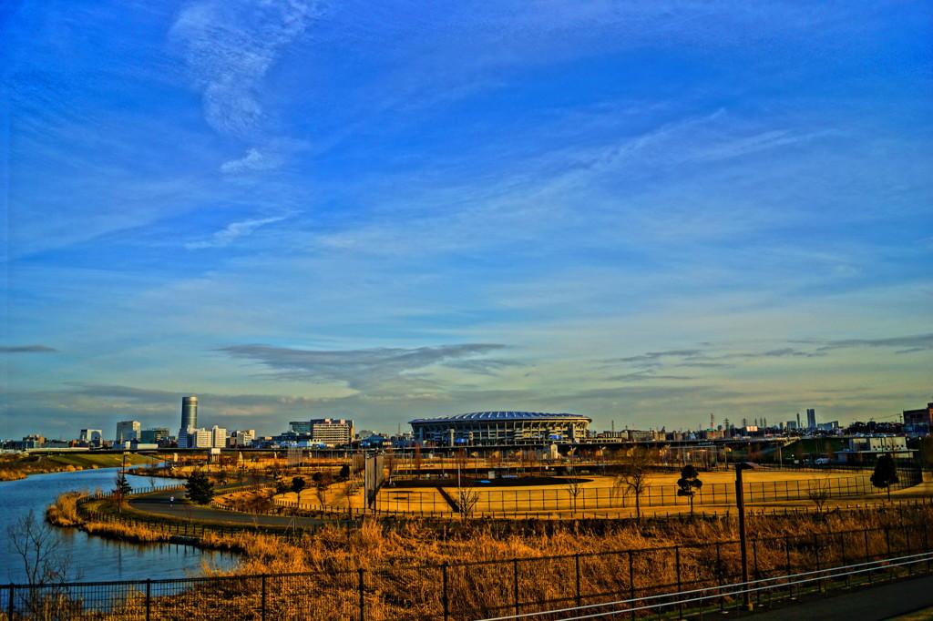 新横浜公園と新横浜駅方面の風景