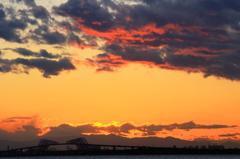 舞浜で見た富士山夕景 #7 雲紅く