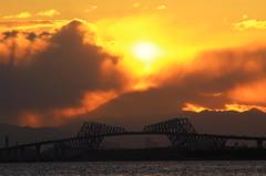 舞浜で見た富士山夕景 #4  そろそろ・・・