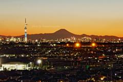 夕景から夜景 今年2月初めの松戸にて