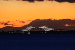 舞浜で見た富士山夕景 #9 GB.点灯