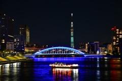 夜に輝く橋と塔